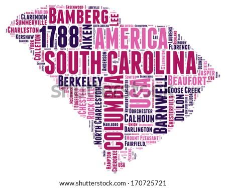 South Carolina USA state map tag cloud vector illustration - stock vector