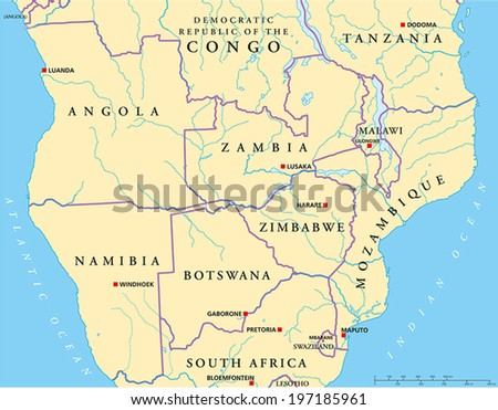 South-Central Africa Political Map with capitals, national borders, rivers and lakes. Vector illustration with English labeling and scaling. - stock vector