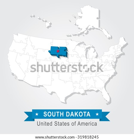 South Dakota state. USA administrative map.