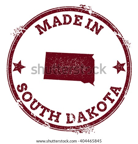 South Dakota vector seal. Vintage USA state map stamp. Grunge rubber stamp with Made in South Dakota text and USA state map, vector illustration. - stock vector