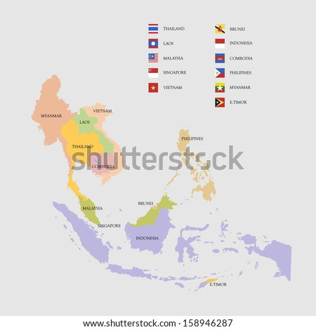 South east asia map flags vector stock vector 158946287 shutterstock south east asia map and flags vector illustration gumiabroncs Images