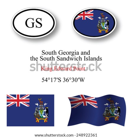 south georgia and south sandwich islands icons set against white background, abstract vector art illustration, image contains transparency - stock vector
