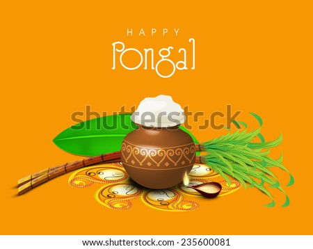 South Indian harvesting festival, Happy Pongal celebrations with rice in traditional mud pot, sugarcane, banana leaf and illuminated lit lamp on yellow background. - stock vector