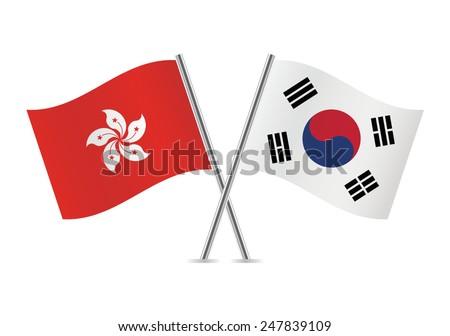 South Korea and Hong Kong flags. Vector illustration. - stock vector