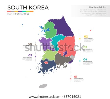 South korea country map infographic colored stock vector 687016021 south korea country map infographic colored vector template with regions and pointer marks gumiabroncs Images