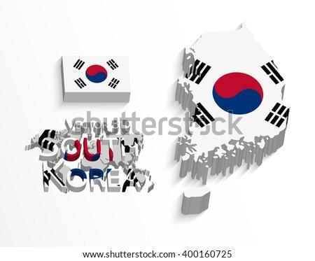 South Korea 3D ( Republic of South Korea ) ( flag and map ) ( transportation and tourism concept ) - stock vector