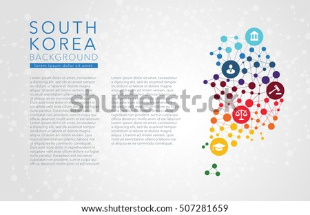 South Korea dotted vector background