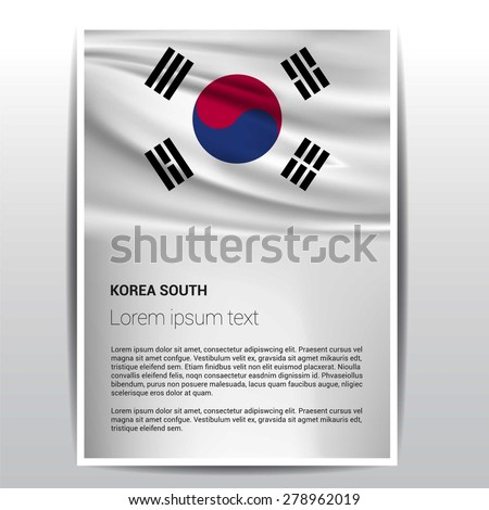 South Korea flag Brochure - Vector Flyer Cover Page Design - stock vector