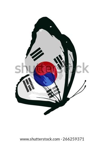 South Korea flag butterfly - vector - stock vector