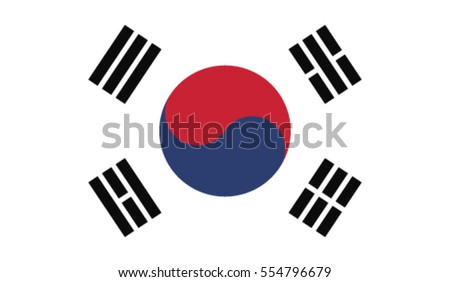 South Korea flag, vector. RGB color values
