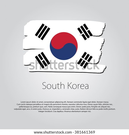 South Korea Flag with colored hand drawn lines in Vector Format - stock vector