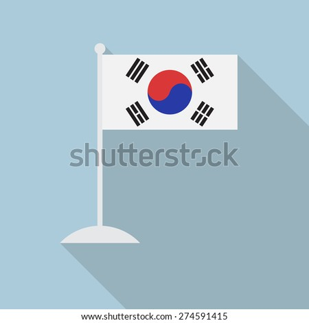 South Korea flag with flagpole flat icon with long shadow. Vector illustration EPS10