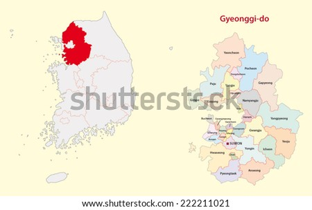 south korea gyeonggi province map - stock vector