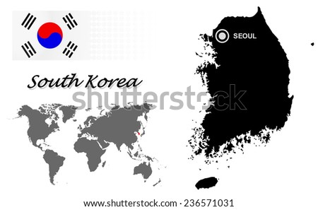 South Korea info graphic with flag , location in world map, Map and the capital ,seoul, location.(EPS10 Separate part by part) - stock vector