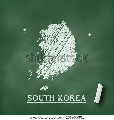 South Korea map on chalkboard green in vector format - stock vector
