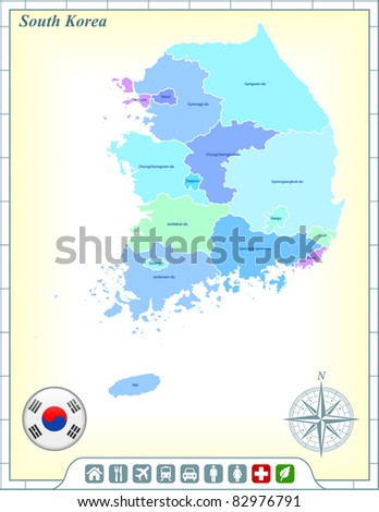 South Korea Map with Flag Buttons and Assistance & Activates Icons Original Illustration - stock vector