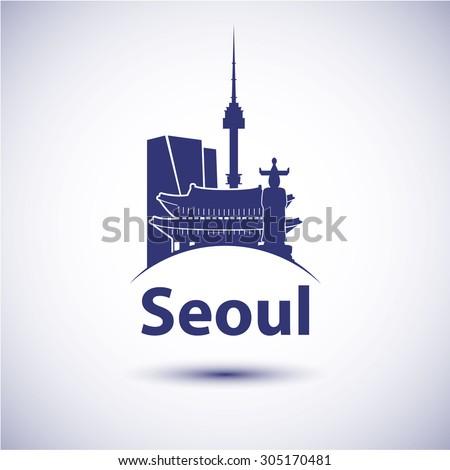 South Korea Seoul city skyline silhouette. Vector illustration - stock vector