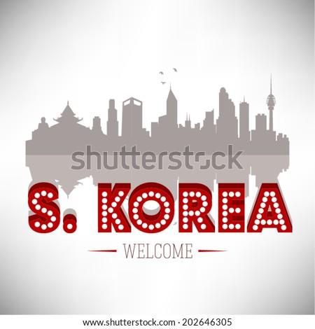 South Korea Skyline Silhouette vector illustration. - stock vector