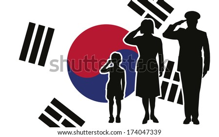 South Korea soldier family salute - stock vector