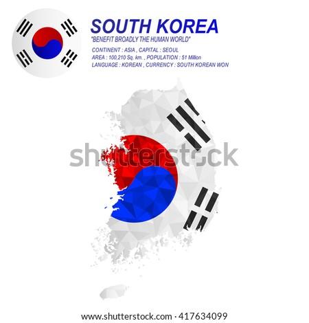 South Korean flag overlay on South Korean map with polygonal style.(EPS10 art vector) - stock vector