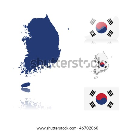 South Korean map including: map with reflection, map in flag colors, glossy and normal flag of South Korea. - stock vector