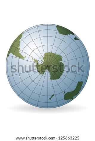 South Pole map. Antarctica, Australia, America, Africa. - stock vector