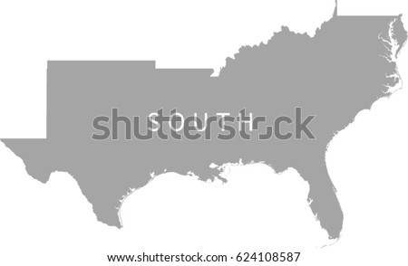 South Region Us Map Stock Vector Shutterstock - Southeast region of the us map