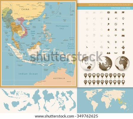 Southeast Asia Map Detailed with Navigation Icon Set. Vintage Colors. All elements are separated in editable layers clearly labeled. - stock vector