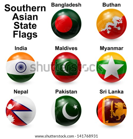 Southern Asian State Flags - stock vector