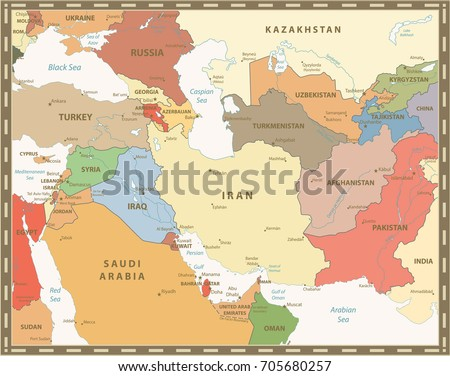 southwest asia map retro color detailed vector map of south west asia