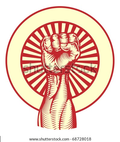 Soviet cold war propaganda poster style revolution fist raised in the air - stock vector