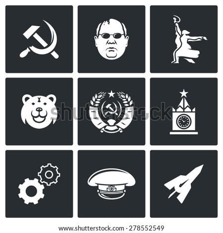 Soviet union icons. Vector Illustration. - stock vector
