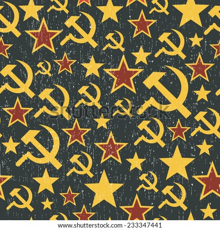 Soviet Union signs pattern. Seamless background in vector. - stock vector