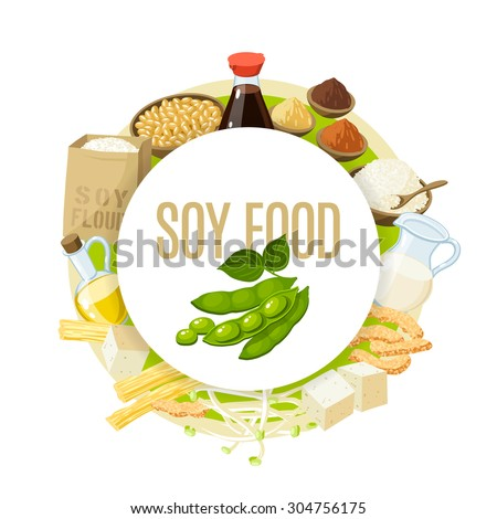 Soy food label with soy milk, soy sauce, soy meat, tofu, miso and so. Vector illustration, isolated on white, eps 10. - stock vector