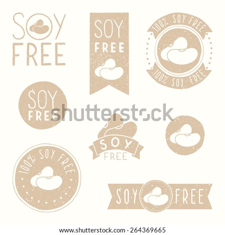 Soy free badges retro style - stock vector