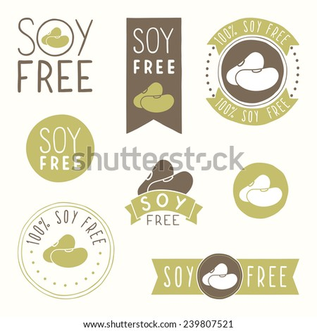Soy free hand drawn labels - stock vector