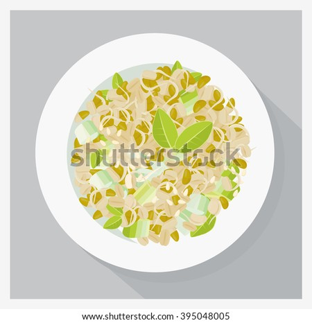 Soy sprouts salad, vegetarian meal. Flat lay vector illustration. - stock vector