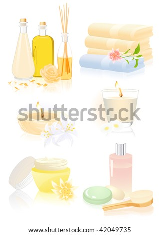Spa accessories, vector illustration - stock vector
