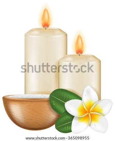 Spa aromatherapy candles and Frangipani flower, photo-realistic vector illustration. - stock vector