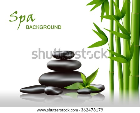 Spa background with rocks and bamboo, vector