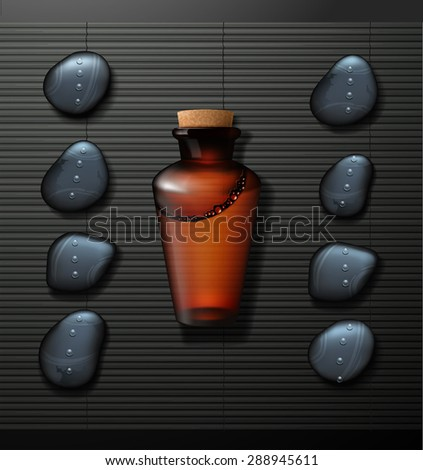 spa background with stone spa, bottle  - stock vector