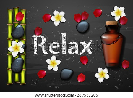 spa background with stone spa, bottle and bamboo - stock vector