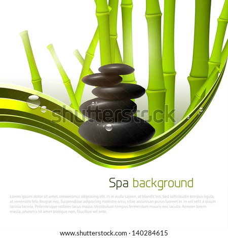 Spa background with stones, bamboo and copyspace - stock vector