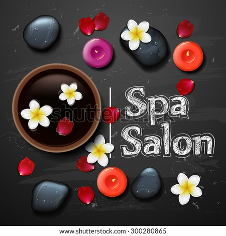 spa background with tropical flowers and stone spa candle - stock vector
