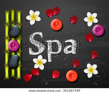 spa background with tropical flowers and stone spa candle.  - stock vector