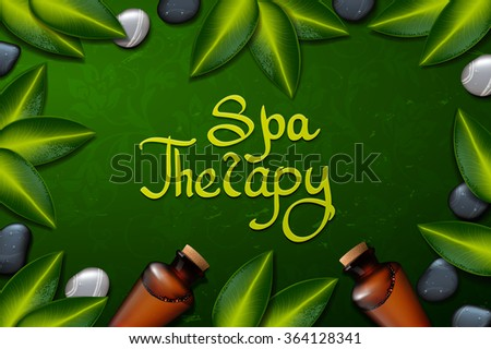 spa background with tropical flowers and stone. Summer tropical green leaves.green background. spa therapy - stock vector