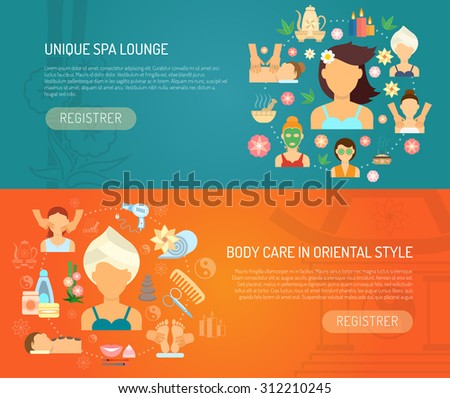 Spa banner horizontal set with oriental style body care elements flat isolated vector illustration - stock vector