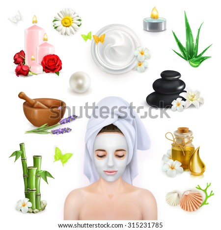 Spa, beauty and care vector icons set - stock vector