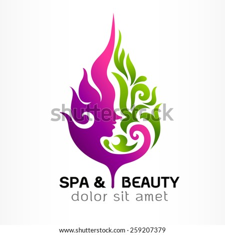 Spa & Beauty and nature symbols and concept,. Abstract design concept for beauty salon, massage, cosmetic and spa. Vector logo design template.  - stock vector