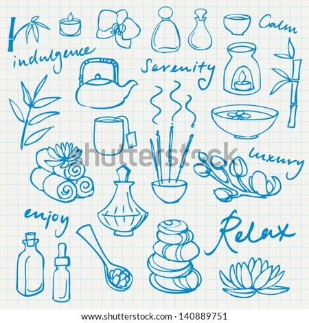 Spa & beauty doodle icons set